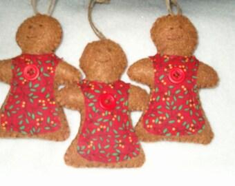 Primitive Felt Gingerbreadwomen, Ornies, Bowl fillers