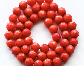 """Red Coral Beads, faceted round, 5mm, 11.5"""" strand"""