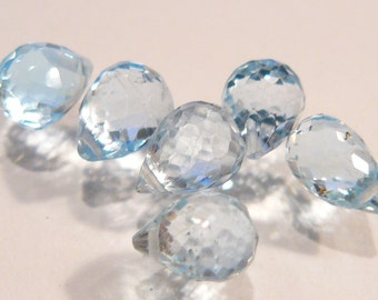 Blue Topaz Faceted Briolette Gemstone Beads....6.-7.5mm....9.35ctw...6 Beads