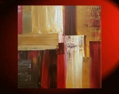 Modern Abstract Art Large Painting Square Red Yellow Brown Ochre Beige Accent Colors by Nathalie Van 30x30