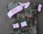 Personalized Mossy Oak Camo Camouflage 3PC Baby Infant Newborn Set Personalized Girls Pink Trim