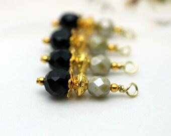 Black Coin Crystal and Czech Bead Earring Dangle Pendant Charm Drop Set