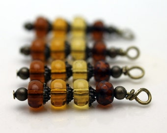 Honey Brown to Amber to Golden Bead Shaded Bead Dangle Charm Set, Earring Dangle, Necklace Pendant, Jewelry Making, Drop