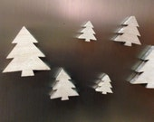Fridge Magnets or Push Pins Set - White Washed Rustic Wooden Trees