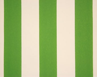 1960s Vintage Wallpaper Green and White Cabana Stripe by the Yard