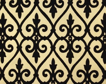 1970s Retro Flocked Vintage Wallpaper Black Damask Gridiron on Gold by the Yard