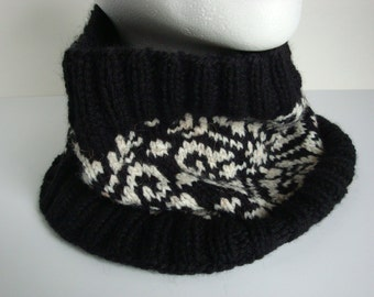 Hand Knit Fair Isle Cowl, Neck Warmer for Men or Women,