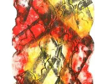 "Monotype collagraph print: ""Quarantined"""