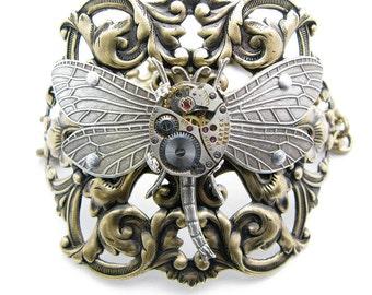 Steampunk Brass & Silver Large Ornate Dragonfly Bracelet