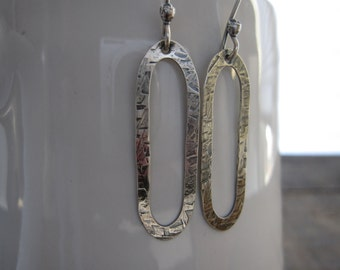 Long oval textured sterling earrings