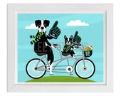 184D Dog Print - Seattle Seahawks Great Dane and Boston Terrier Dogs on Bicycle Wall Art - Great Dane Print - Football Art - Bicycle Print