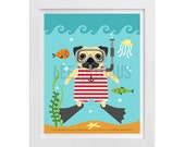 143D Pug Wall Art - Pug Snorkeling in Red and White Swimsuit Wall Art - Scuba Diving Dog Print - Dog Wearing Swimsuit Print - Silly Pug Art