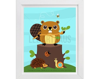 183 Woodland Animal Art - Beaver Wall Art - Beaver Print - Beaver Poster - Beaver Art - Woodland Boy Nursery - Woodland Nursery Wall Decor