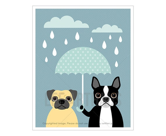 25F Dog Prints - Pug and Boston Terrier with Blue Umbrella Wall Art - Funny Dog Art - Blue and Gray Nursery Art - Pug Drawing - Pug Print