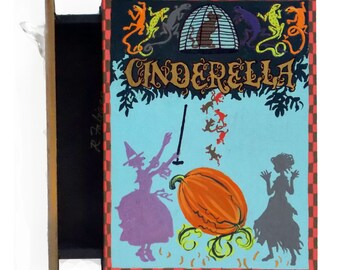 Hidden compartment, hollow book - Cinderella-  wooden hideaway book box.  Secret safe box.