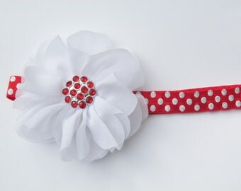 Red with White Glitter Polka Dot Elastic Headband w/ White Double Ruffle Hair Flower and Jewel Center - baby girl toddler 18 months - age 5