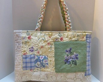 Quilted Tote Bag with Vintage Needlepoint