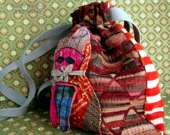 Patchwork Cat Boho Slouchy Handbag
