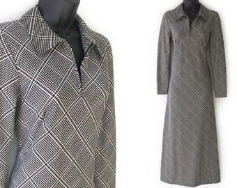 90s Black and Ivory Houndstooth Print Donna Karan DKNY Maxi Dress XS S