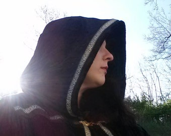 RESERVED for Mikey - Black with Golden Floral Ribbon - Crushed Panne Velvet Hooded Robe Pagan Wizard Witch Ren Faire Costume