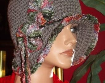 Gray 1920s Flapper Hat Cloche Crochet Handmade
