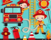 50% OFF SALE Fire fighter Boys Clipart. Cute fireman, fire truck, hose, fire extinguisher, fire rescue emblem, fireman helmet, african ameri