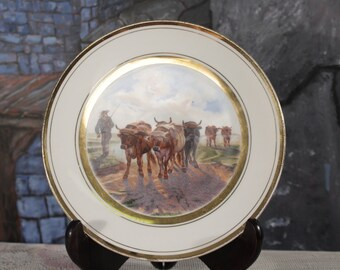 Serves china Plate Farmer Oxen driven through the field white Plate ox Rural scene   Gold Trim edge country