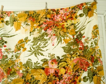 Vintage cotton tablecloth - bright florals and fruit