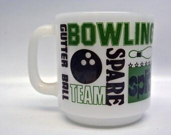 Vintage milk glass bowling mug