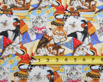 Cute Kittens Kitty Cats Playing on Quilts BY YARDS Print Concepts Cotton Fabric