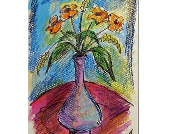 Flowers in a Purple Vase, Flower Card, Flower Painting, Yellow Flowers, Flower Art, Flower Painting, Hand Painted Card, Still Life Painting