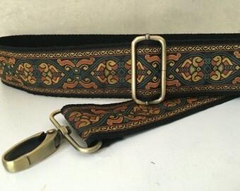 Bag Strap, Handmade Adjustable Shoulder Strap Copper and Black design, Crossbody Messenger Bag Strap