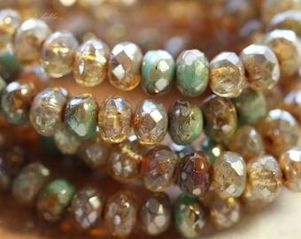 10% off sale .. DESERT MIX BITS No. 1.. 30 Premium Picasso Mix Czech Rondelle Beads 3x5mm (4520-st)