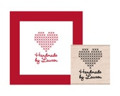 Cross Stitch Heart Handmade By Personalized Rubber Stamp