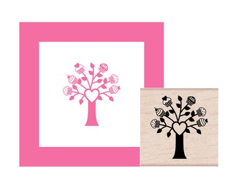 Cupcake Tree Rubber Stamp