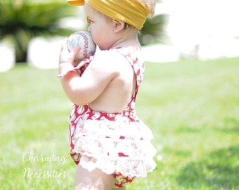 Baseball Sister Romper Sunsuit, Baby Girl Clothes, Toddler Girl Clothes, Sunsuit Bubble Romper with Ruffles by Charming Necessities