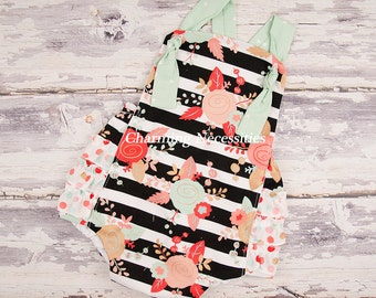 Baby Girl Clothes, Toddler Girl Clothes, Sunsuit Bubble Romper with Ruffles Spring Summer Easter Avant Garde Trendy Modern Baby Clothes