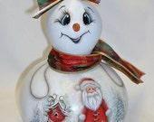 Snowman Gourd with Santa, Birdhouse Winter Scene - Hand Painted Gourd