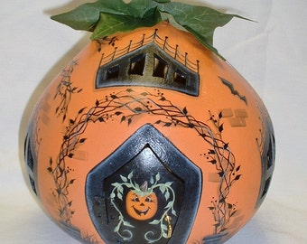 Light Up Halloween Gourd House - Hand Painted