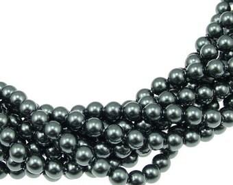 8mm Tahitian Pearl, Swarovski® crystals, Tahitian, 8mm round (5810). Sold per pkg of 11