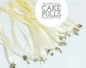 cake pulls 12 Traditional Pulls Priority Mail 12 Charms general Southern Bridesmaid game bride ribbon wedding charm cake wedding New Orleans