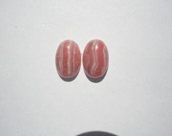 Natural Rhodochrosite Gemstone Oval Cabochons - 12x8mm - 2