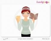 Woman reading book, holding coffee mug, character clipart digital PNG clip art (Aurora 634)