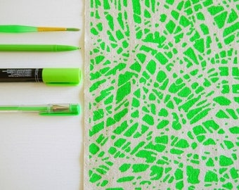 Tropic - screen printed fabric - neon and metallic colours