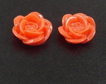 CLEARANCE Cabochon Flower 6 Resin Round Rose Orange Flower Opaque 18mm (1012cab18m4-3)os