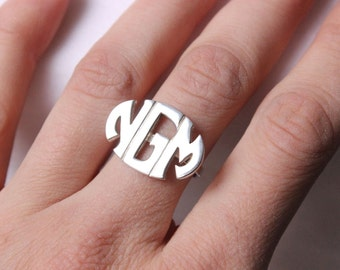 Personalized Monogram Ring - Sterling silver - Block monogram font with any initial