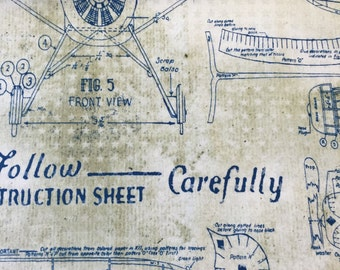 Tim Holtz Fabric by the Yard - Correspondence - Model Airplane in Blue - Quilter's Cotton