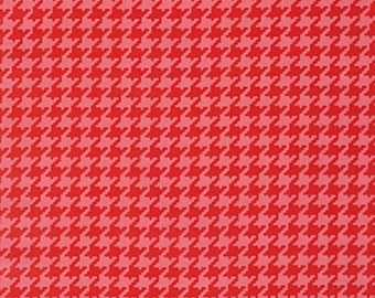 Heather Bailey Fabric by the Yard - Houndstooth in Red - Ginger Snap Fabric - Quilter's Cotton