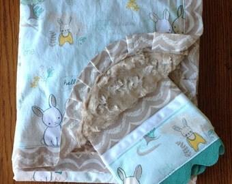Bunny Minky Blanket and Burp Cloth Set Set...PESONALIZATION AVAILABLE