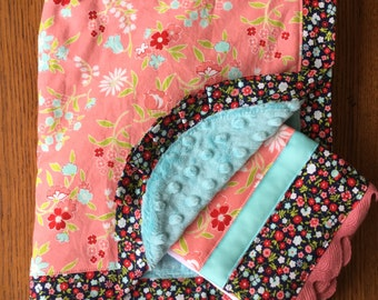 Salmon Pink and Aqua Flower Blanket and Burp Cloth Set...Personalization Available
